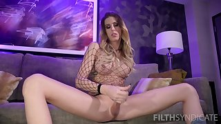 Gorgeous shemale Casey Kisses masturbates with her hand badly