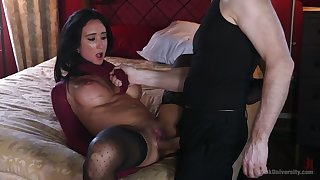 Virginia Tunnels with big fake tits having amazing sex while tied up