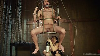 Caged man leaves mistress to brutally fuck him in the ass