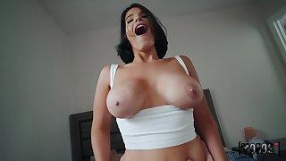 Tight brunette lands entire cock in full POV special