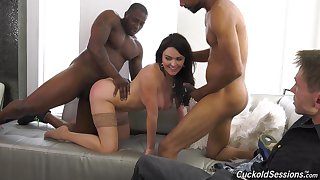 Busty brunette Krissy Lynn fucked by two black guys in front of her BF