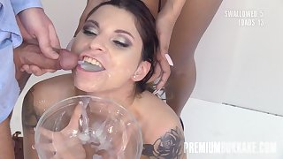 PremiumBukkake - Kattie Hill swallowing 52 huge cum loads in mouthful bukkake