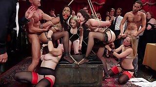 Upper floor orgy gone wild with the ladies acting slutty