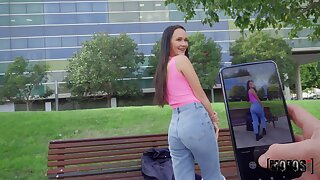 Dirty slut Sasha Sparrow fucked in the outdoors and receives a facial
