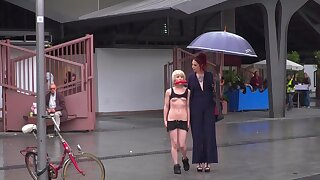 Kinky Silvia Rubi humiliates exposed sub Nora Barcelona in public