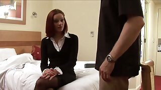 Elegant mistress spanks my ass and then strokes my dick with her hands