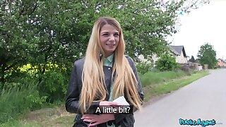 Dispirited blondie Ella Dearest takes money to have outdoors sex