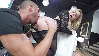 Young blonde regarding fucked in both holes and made to go for