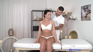 Oiled hottie Nata Lee massaged and fucked by a handsome stud