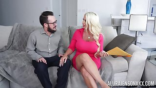 Hot cougar with thick ass, impracticable couch sex with a younger male