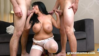 Chubby mature gets shared by one handsome younger lovers. HD