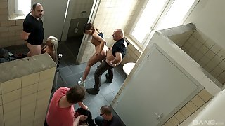 Long haired code of practice babe Natalie Hot fucked beside a restroom orgy