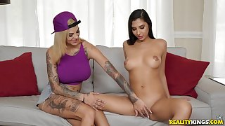 Young lesbians Bonnie & Gianna fucked by a man in a FFM troupe threesome