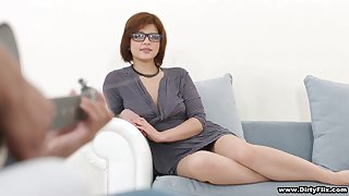 Nerdy cute cowgirl Rebecca Rainbow gets poked at the end of one's tether curly black stud lavishly