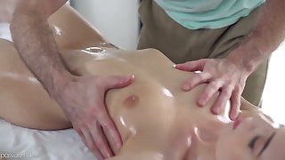 Bright redhead Ava Haze is totally absorbed with riding strong flannel on top