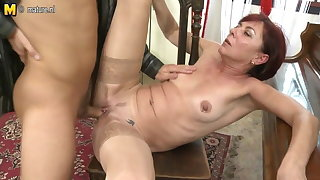 Grown-up teacher mom sucking and fucking her student