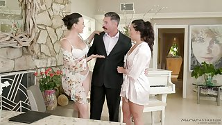 Amazing and lubed Dana DeArmond is ready to share dick for FFM