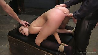 Handcuffed bitch Eden Sin is eager to take strong fat cock into her anus