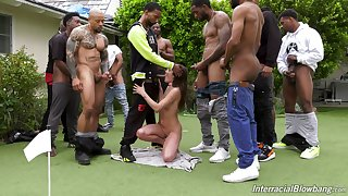 Back yard group sex with a bunch of black dudes