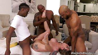 Hot Karma Rx gets masturbating to some interracial porn by black dudes