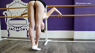 Zealous flexible Julia Fiatal takes kinky poses while being completely naked